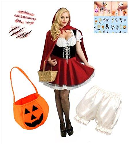 【ELEEJE】ハロウィン コスチューム 赤ずきんちゃん 衣装 & かぼちゃパンツ ネイル タトゥーシール 6点セット レディース (フリー, 赤×黒)
