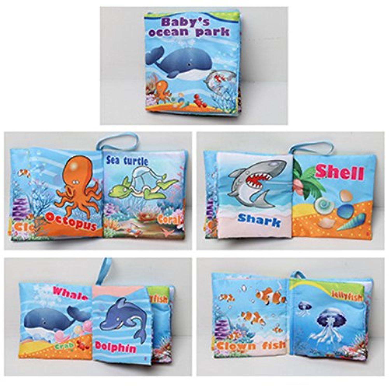 柔らかい布ブック赤ちゃん最初Book非毒性、ファブリック、カラフル、Squeak Rattle、Crinkle子供教育玩具、ベビーシャワーのギフト男の子と女の子、 Ocean QZC