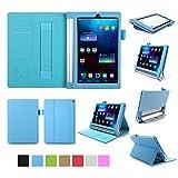 ISIN Lenovo Yoga Tab 3 8 / Yoga Tablet 2 8.0型 レノボジャパン Android タブレット 保護ケース 超薄型 用スマートケース マグネット開閉式 スタンド機能付き 高級PU レザーケース カードスロット付き ・ リストバンド付(ブルー)