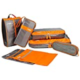 旅行大好き! 収納7点 スーツケースにすっきり収まる! /手軽/時短/コンパクト/応用便利/旅行グッズ/旅行/出張 (オレンジ×グレー)(オレンジ・灰)