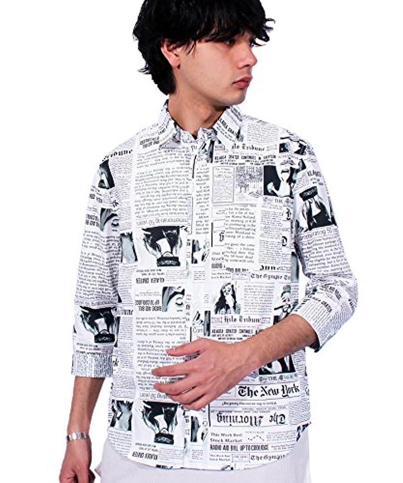 不定飛び込むなだめる(エイト) 8(eight) ニュースペーパー柄 7分袖シャツ コットン