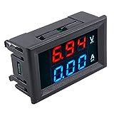 パネル取付け型DCデジタル電圧計電流計 赤青 100V 10A バルク品