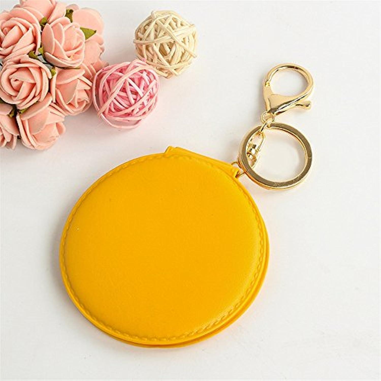 HuaQingPiJu-JP ミニラウンドダブルサイドスモールガラスミラーメークアップデコレーションの化粧品の付属品の黄色