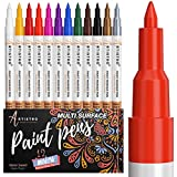 Paint pens for Rock Painting, Stone, Ceramic, Glass, Wood. Set of 12 Acrylic Paint Markers Extra-fine tip