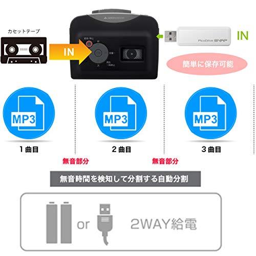 グリーンハウス『カセットテープ変換プレーヤー(GH-CTPA-BK)』