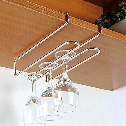 Inc T&B ワイングラスホルダー グラスハンガー ラック ステンレス製 吊り下げ 穴あけ不要 ネジ止め不要 2レーン ロングタイプ (2~3cmまで対応,2セット)