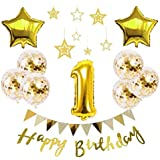 【Shiseikokusai 】 HAPPY BIRTHDAY 風船 星バルーン アルミニウム 数字(1) お子様誕生日パーティー 豪華 誕生日 飾り付け セット ゴールド(yj-xx01)