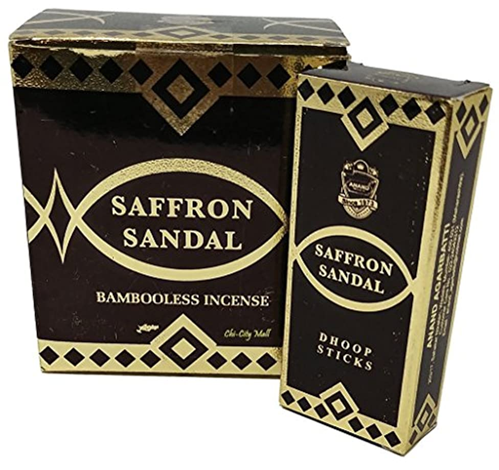 アナログプール謝るChi-City Mall Saffron Sandal Bambooless Incense - Dhoop Sticks Anand Agarbatti Hand-rolled in India 15 Sticks...