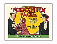 忘れられた顔 - 主演 Clive Brook, Mary Brian, William Powell そして Olga Baclanova - ビンテージなフィルム映画のポスター c.1928 - アートポスター - 51cm x 66cm