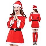 RAVAcoco サンタ コスプレ レディース 大きいサイズ クリスマス サンタ 衣装 4点セット 全6サイズ (XXXL)