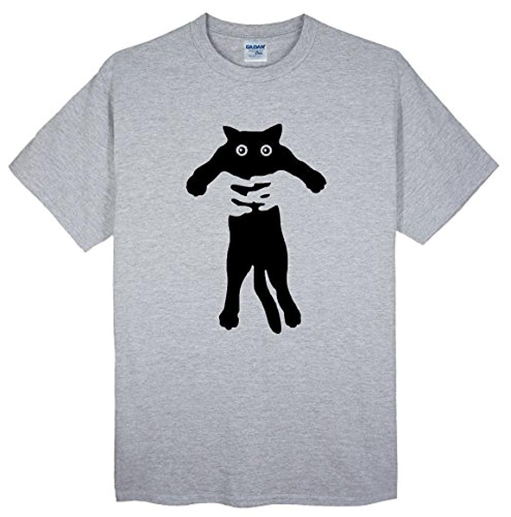 破壊的乳白色サイト(ゴジラ千) GODZILLASENN メンズtシャツ ネコをつかまって 柄プリントTシャツ グレー S