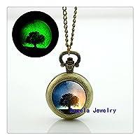 魔法の木の熱烈な懐中時計ネックレスマジックツリー輝くペンダントジュエリー