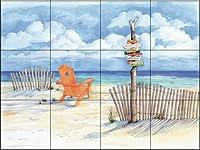"""セラミックタイル壁画–ビーチsigns-oceanview- by Paul Brent–キッチンBacksplash /バスルームシャワー 24 Tile Mural on 6"""" Tile 15-1247-3624-6C"""