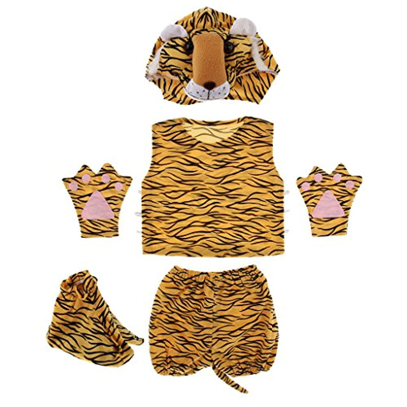 ピカソバランスのとれたバスケットボールPerfk 動物衣装キット 子供 キッズ  帽子 シャツ ショートパンツ 手袋 靴 動物園 コスチューム ハロウィーン お祝い    - 虎