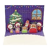 サンリオ クリスマスカード 洋風 二つ折り ポップアップ サンタさん動物たちにプレゼント S7123