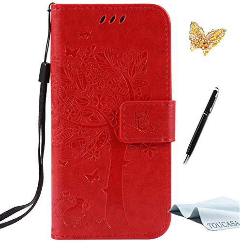 TOUCASAR Galaxy S4 Mini ケース Galaxy S4 Mini ケース 手帳型 財布型ケース プレミアムニュースタイル PU レザー フリップ 絶妙なエンボス加工 ツリーの猫の蝶のパターン 手帳型ケース TPU 耐震 カード収納 マグネット スタンド機能 おしゃれ 人気 カバー (赤) +スタイラスペン +ダストプラグ