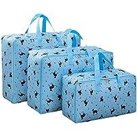 3PCSブルーブラックキャットパターン収納袋ポータブル折り畳み式オックスフォード布防水性防湿トラベルオーガナイザーキルト衣類仕上げ荷物収納袋3個/セット