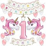 1歳 女の子 誕生日 飾り付け ユニコーン パーティー 可愛い ピンク happy birthday バナー ガーランド 風船 数字1 バースデークラウン バルーン デコレーション 26枚セット