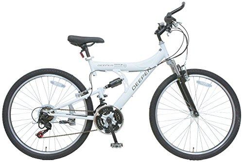 DEEPER(ディーパー) フルサスペンション マウンテンバイク 26インチ シマノ18段変速 自転車 フルサスペンション バーエンド装備 DE-08 マットホワイト