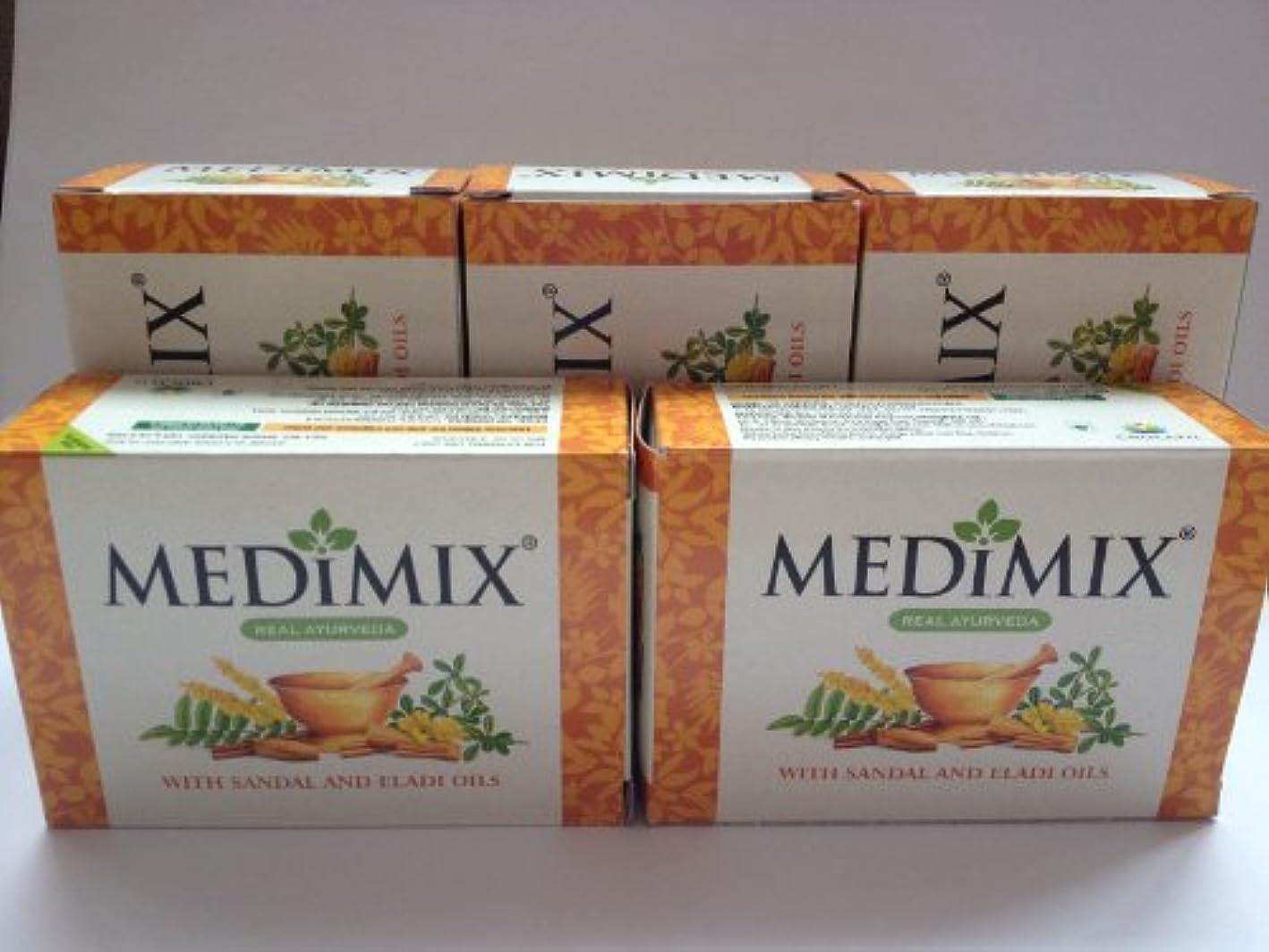 逆検体単なる美白 シミ ニキビ 対策!MEDIMIX ソープ メディミックス アーユルヴェーダ石鹸、サンダルウッド 【5個セット】並行輸入品