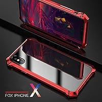 MQman 超人気 iphoneX アルミバンパー iphone X ケース メタルフレーム 透明バックプレート アイフォンX 透明背面パネルカバー 軽量 薄型 金属人気合金 かっこいい 洒落 (iPhoneX, 赤)