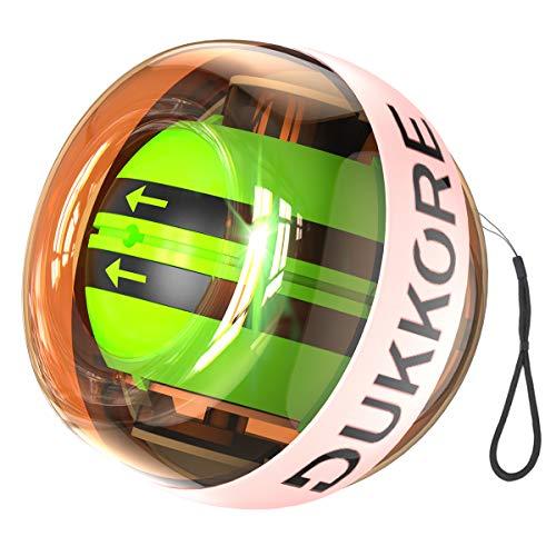 【2018最新版】 スナップボール オートスタット LED発光 手首 リストトレーナー 握力 腕力 筋力 トレーニング ジャイロ回転 自動回転 初心者 上級者 ストラップ付 (オレンジ)