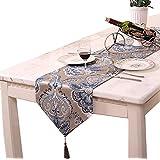 Aothpher おしゃれ モダン 北欧 テーブルランナー リビング おもてなし 咲かせる花 タッセル シェニール コーヒー 33*210cm