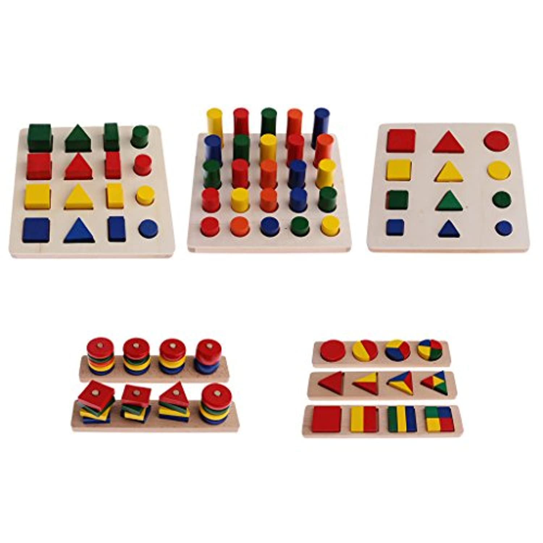 MagiDeal Montessori材質ジオメトリブロックMatching Counting forキッズ教育玩具