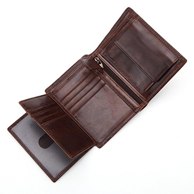 財布 メンズウォレット ショート レザー 多機能 ビンテージ ジップ コインウォレット 縦層 3つ折り財布