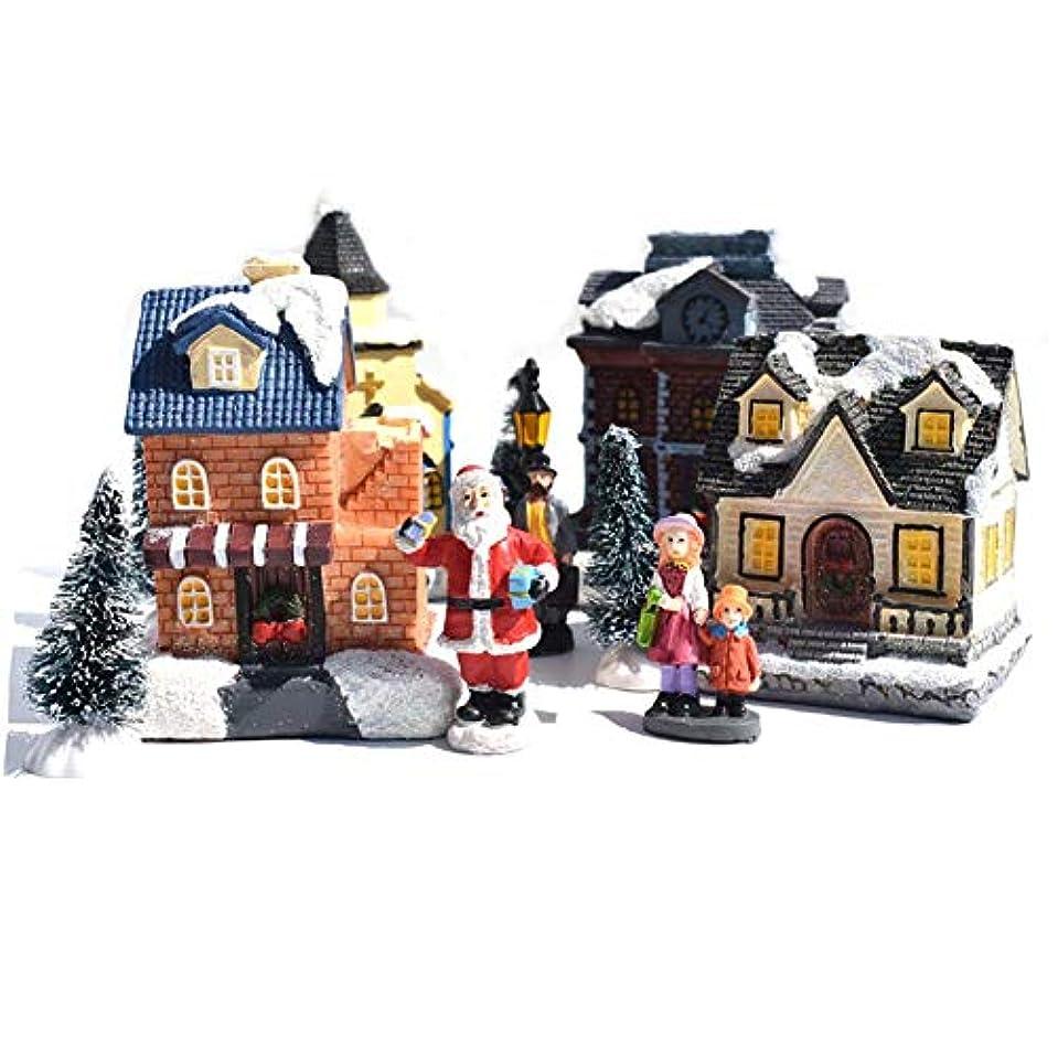 フライトウィスキー虫クリスマス人形の置物、10ピース置物家村の建物セット、DIYの置物小さな樹脂家の子供のギフト、輝く小さな家の装飾セット