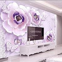 Lixiaoer カスタム写真の壁紙3D壁画アナグリフロマンチックパープル牡丹寝室リビングルームのソファテレビの背景壁の装飾-350X250Cm