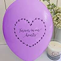25 Purple 'Forever In Our Hearts' Funeral Remembrance Balloons - 100% Biodegradable - by Angel & Dove