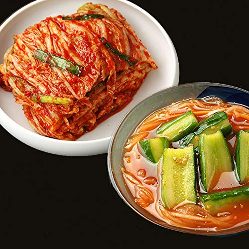 甘酢胡瓜キムチ500gと本格手作り白菜キムチ300gのセット【冷蔵限定】