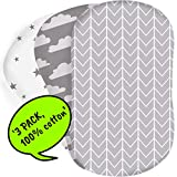 Bear's Little Fish 3-Pack of Bassinet Sheets | 100% Hypoallergenic Jersey Cotton | Gender Neutral Grey and White for Baby boy or Girl | Fitted Crib Sheets for Oval, Rectangle and Hourglass Mattress