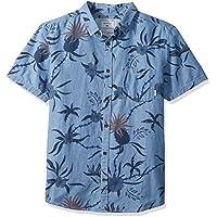 Quiksilver Mens EQYWT03642 Shakka Mate Short Sleeve Dress Shirt - Blue