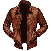 Gem Biz Men's Lambskin Biker Brown Bomber Leather Jacket