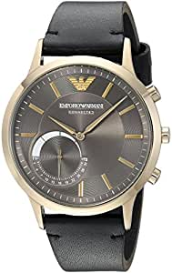 Emporio Armani Men's 'Renato' Quartz Stainless Steel and Leather Smart Watch, Color:Silver-Toned (Model: ART3006) [並行輸入品]
