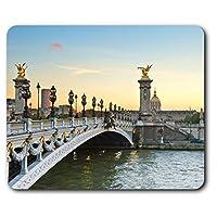 快適なマウスマット - アレクサンドル3世橋パリフランスコンピュータ&ノートパソコン、オフィス、ギフト、ノンスリップベースのため23.5 X 19.6センチメートル(9.3 X 7.7インチ) - RM8912
