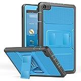 NEW-Fire HD 8 ケース - ATiC Fire HD 8 タブレット (第7世代、第8世代) 用カバー 全面保護型 耐衝撃 スタンドケース BLUE+Dark GRAY