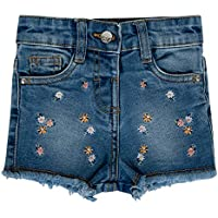 Girls Denim Shorts Jean Flower Rose Embroidery Distressed Fray Hem Hot Pants Kids Baby Girl Floral Designer's Denim Style Stylish Fashion Trendy Jeans New Age 0 1 2 3 4 5 Years