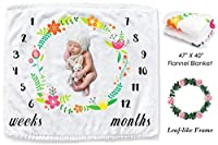 赤ちゃん月間マイルストーンブランケットシャワーギフト、CAVN厚い/柔らかい/居心地の良いフランネル0-12ヶ月ベイビーマイルストーンブランケット写真新生児の少年と少女のための写真の小道具(スタイル2)