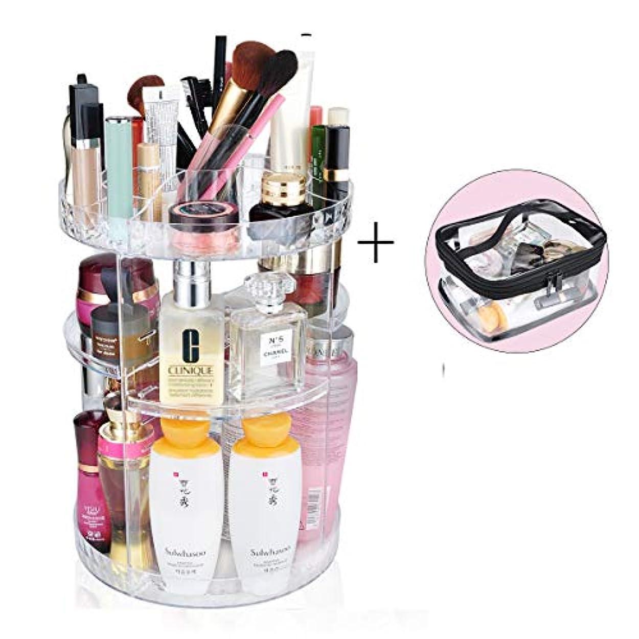 十祖母サポート化粧品収納ボックス 360度回転コスメボックス コスメ収納ラックスタンド整理 大容量透明メイクボックス