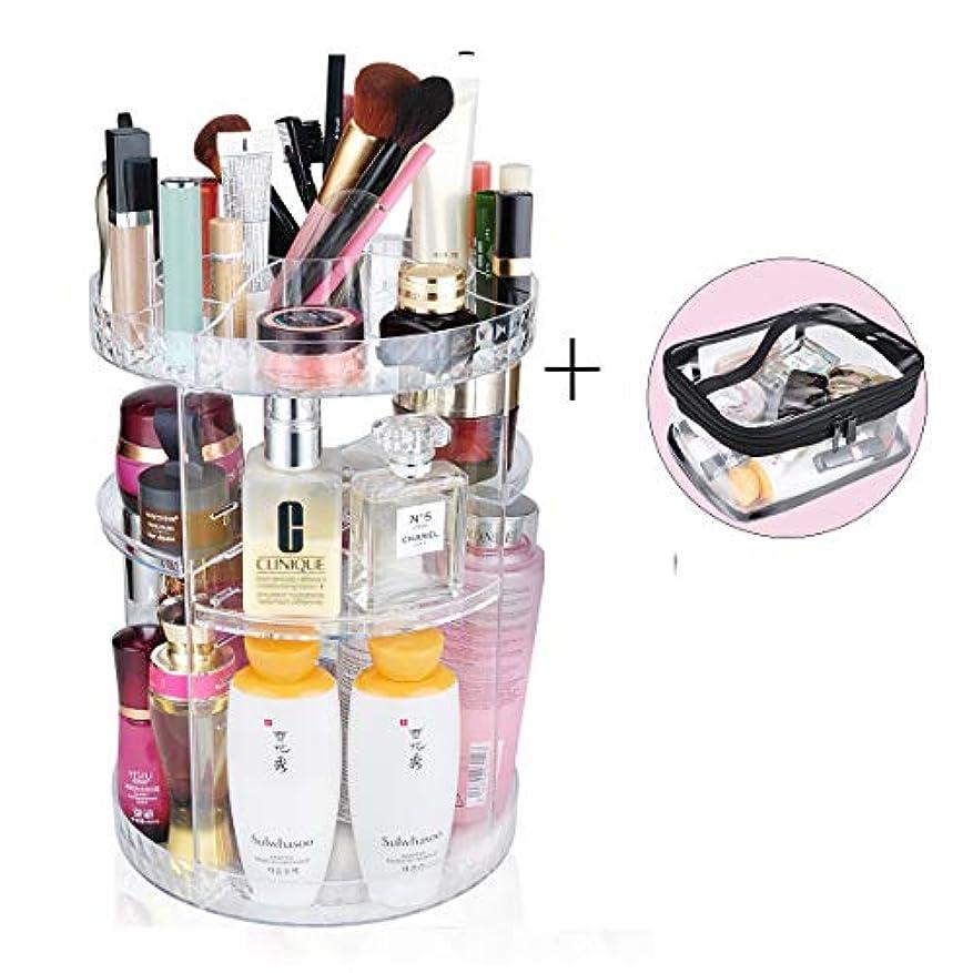 パック潮便益化粧品収納ボックス 360度回転コスメボックス コスメ収納ラックスタンド整理 大容量透明メイクボックス