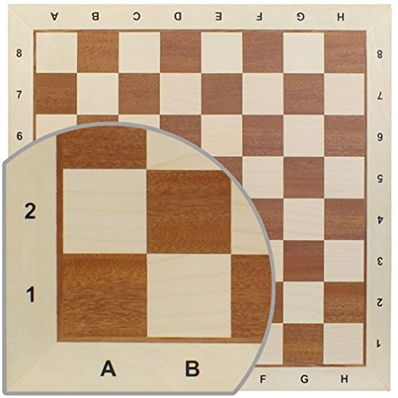 Chess Board No. 6 - Exact Detail and Lettering for Professional Tournament Use - Mahogany and Sycamore Wood [並行輸入品]