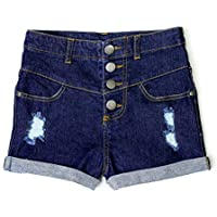 Bienzoe Girl's Adjustable Waist Holes Ripped Stretchy Denim Shorts