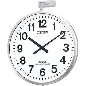 シチズン 電波 屋外用 掛け時計 ポールウエーブSF 大型 防雨 ステンレス 《今あるポールへ取付けられる金具付き》 銀色 CITIZEN 4MY611-N19