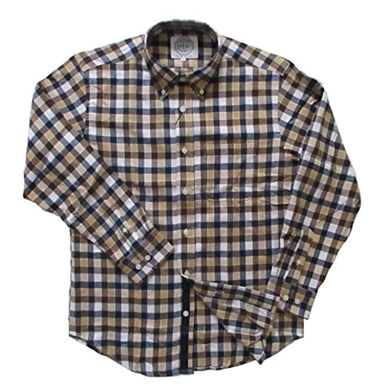 近代化する時間とともにこの(フェアヴァリュー)FAIRVALUE  ネルシャツ 長袖 ボタンダウンシャツ 綿100% 細身 (M, ブラウン系)