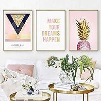 金色の果物パイナップルキャンバス絵画ポスター印刷壁アート写真リビングルームの装飾-50×70センチ×3ピースフレームなし