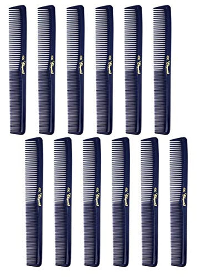 チロ妻小説家7 inch All Purpose Hair Comb. Hair Cutting Combs. Barber's & Hairstylist Combs. Dark Blue. 12 Units. [並行輸入品]