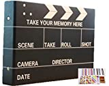(Fun Market) レトロな雰囲気が素敵な 手作り 写真集 選べるデザイン 映画 カチンコ ポラロイド カメラ スクラップ ブッキング 基本 5種類12点 セット (全紙, 1.映画カチンコ本体+12点セット)